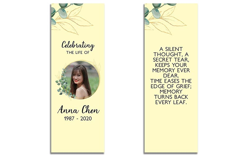 Customizable Funeral Bookmarks: Soft Light
