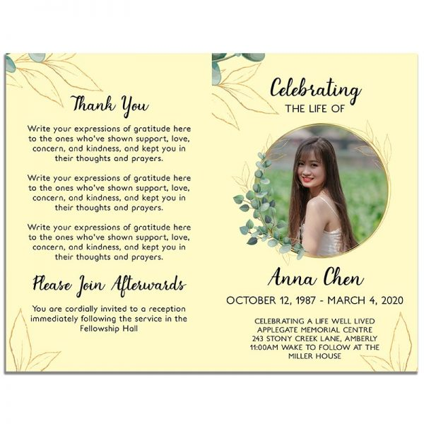 Front and Back Sides for the Funeral Program Template: Soft Light