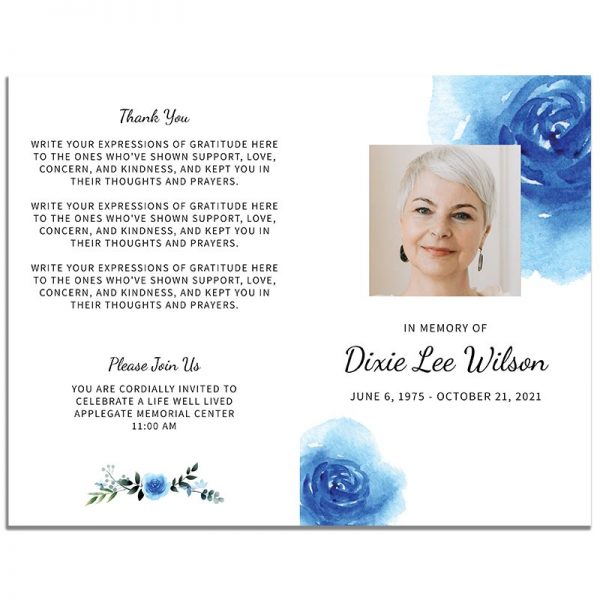Blue Floral Simple Funeral Program - Front and Back Pages