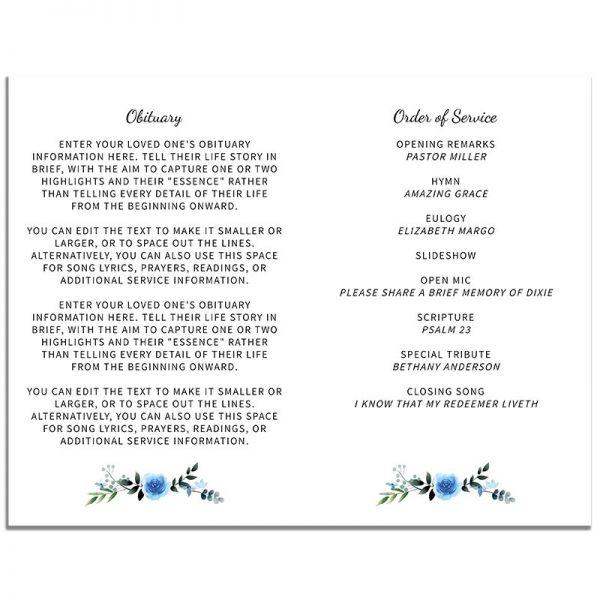 Blue Floral Simple Funeral Program - Inside Pages