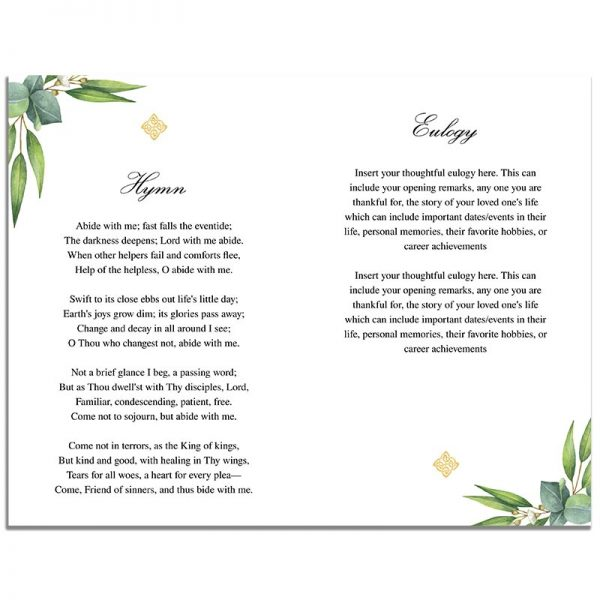 Celtic Cross 8 Page Funeral Program - Second Page