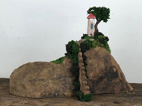 Mountain Stairway Sculpture Urn