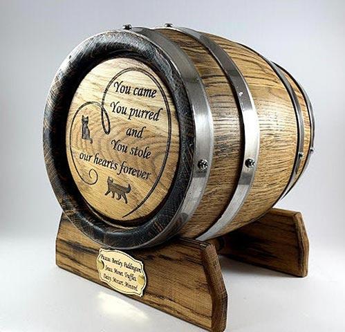 Personalized Oak Barrel Urn