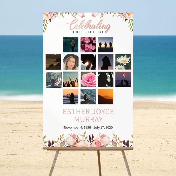 Gentle Florals - Funeral Memory Board