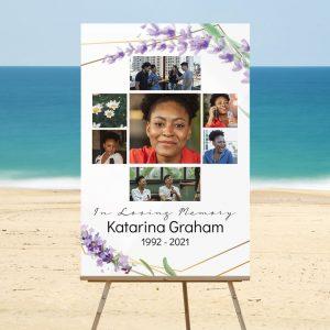 Lavender Funeral Memory Board Template
