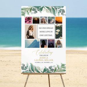 Leaves Celebrating Life Funeral Memory Board Template
