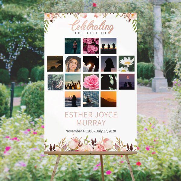 Custom Life Celebration Funeral Memory Board Template: Gentle Florals
