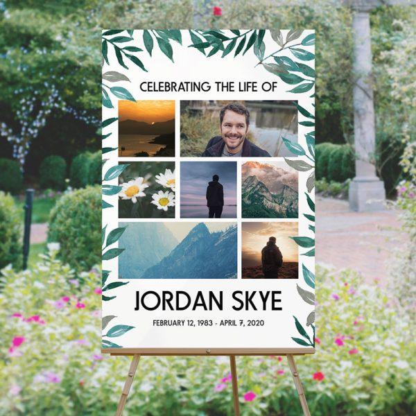 Custom Life Celebration Funeral Memory Board Template: Greenery