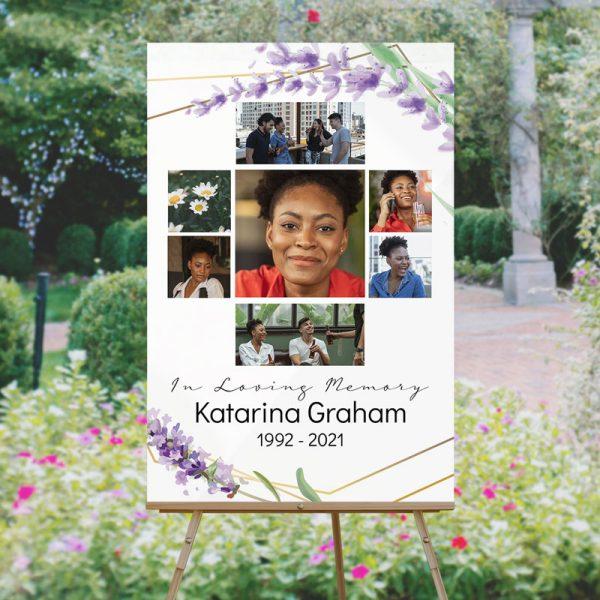 Custom Funeral Memory Board Template: Lavender