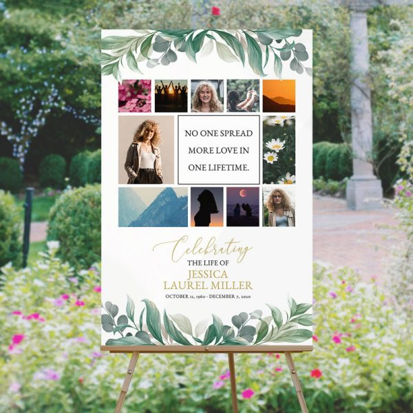 Custom Funeral Memory Board Template: Leaves