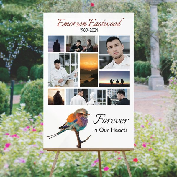 Personalized Tranquil Bird Funeral Memory Board Template