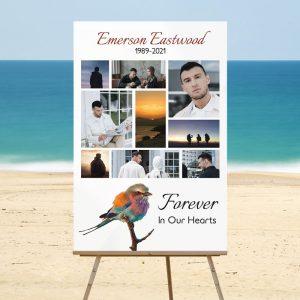 Custom Funeral Memory Board Template: Tranquil Bird