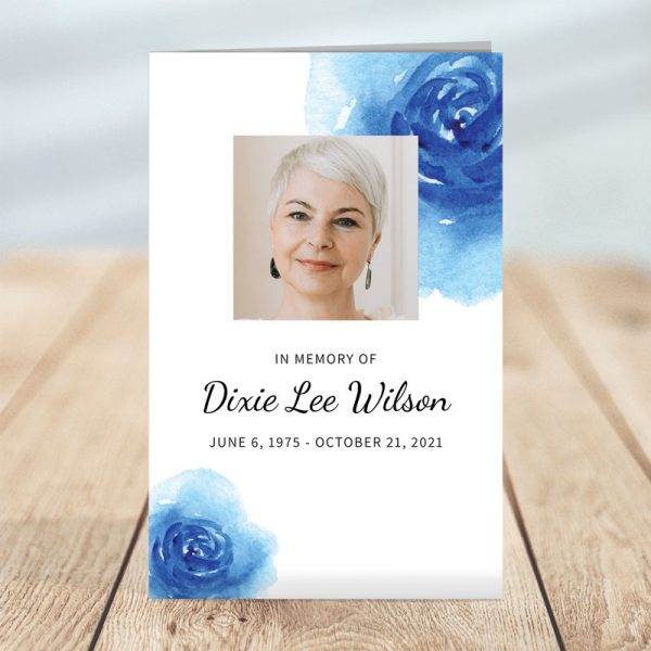 Blue Floral Funeral Program Template