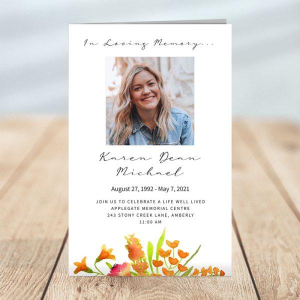 Golden Floral Funeral Program Template