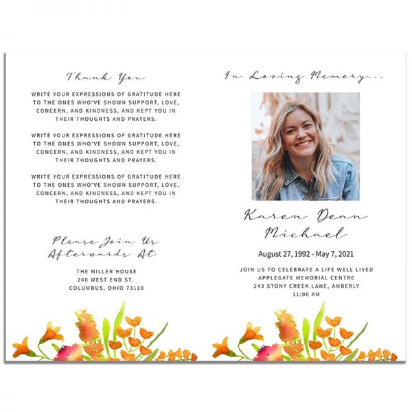 Golden Floral Simple Funeral Program - Front and Back Pages