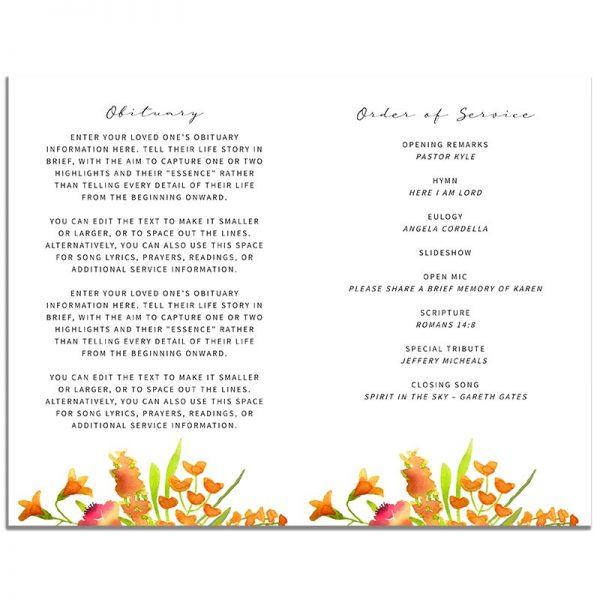 Golden Floral Simple Funeral Program - Inside Pages
