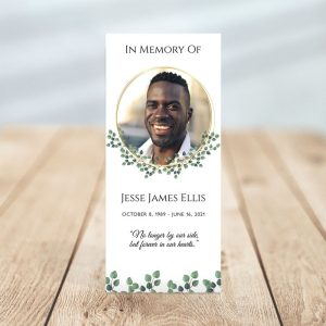 Personalized One Page Funeral Program - Golden Frame