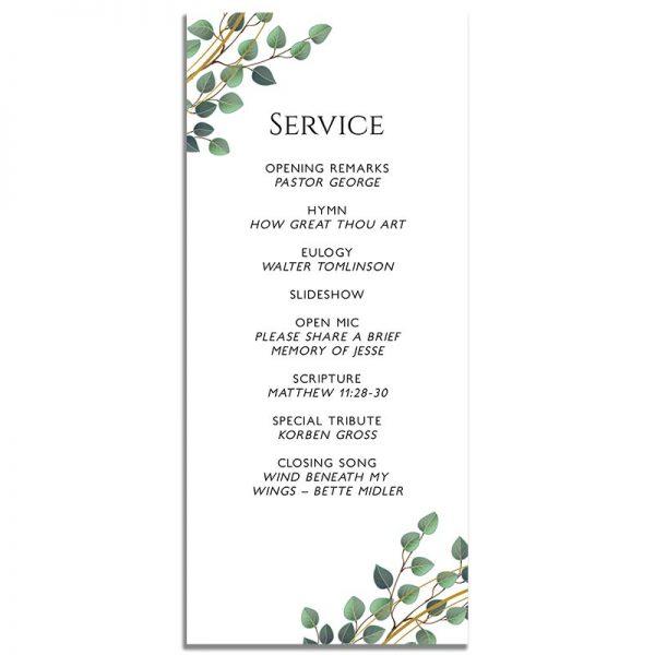 Golden Frame Simple One Page Funeral Program – Back