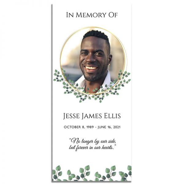 Golden Frame Simple One Page Funeral Program – Front