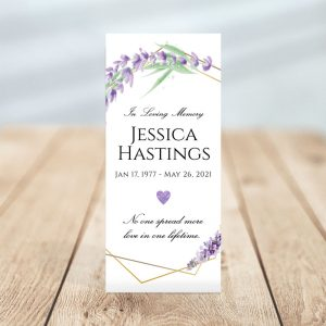 Personalized One Page Funeral Program - Lavender Frame