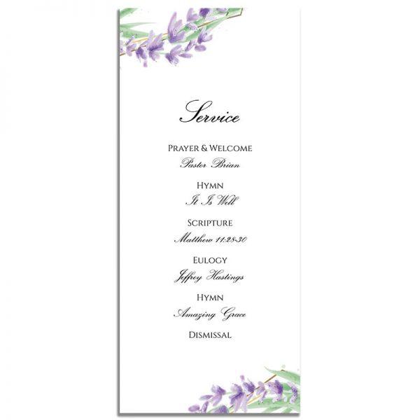 Lavender Frame Simple One Page Funeral Program – Back