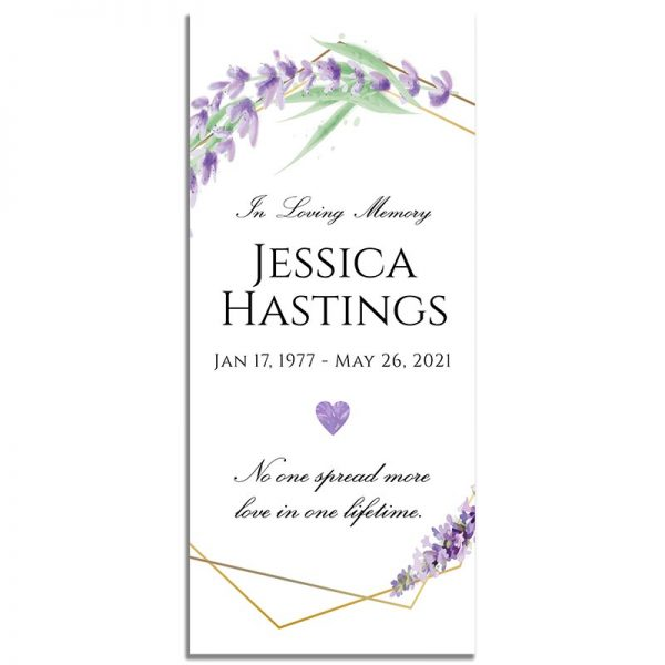 Lavender Frame Simple One Page Funeral Program – Front