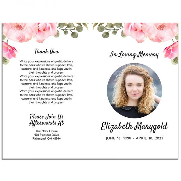 Pink Floral Simple Funeral Program - Front and Back
