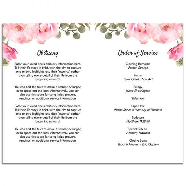 Pink Floral Simple Funeral Program - Inside Pages