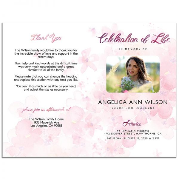 Pink Watercolors 8 Page Funeral Program - Front and Back