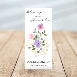 Personalized One Page Funeral Program - Soft Purple Floral