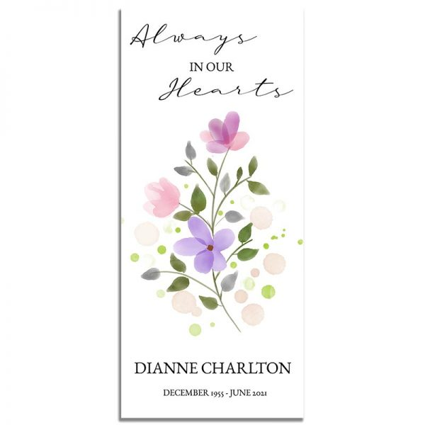 Soft Purple Floral Simple One Page Funeral Program – Front