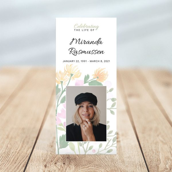 Personalized One Page Funeral Program - Spring Bloom