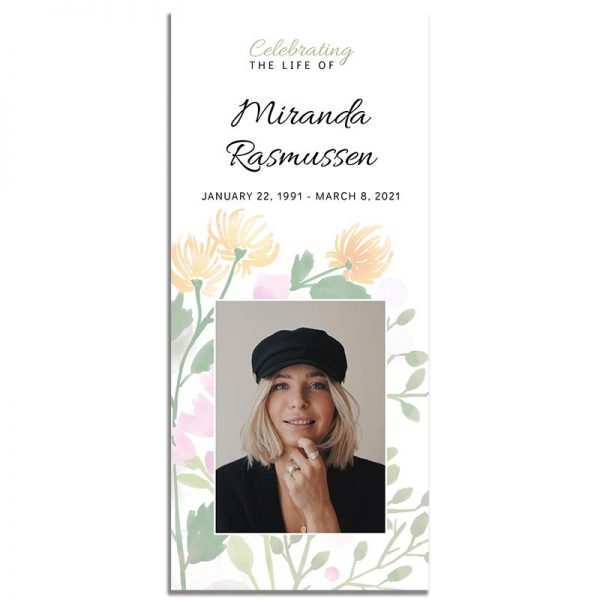 Spring Bloom Simple One Page Funeral Program - Front