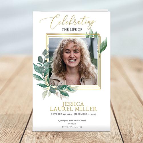 Leaves Funeral Program Template