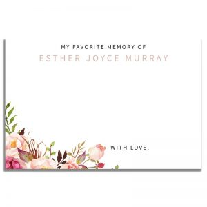 Gentle Florals Life Celebration – Share a Memory Card Template