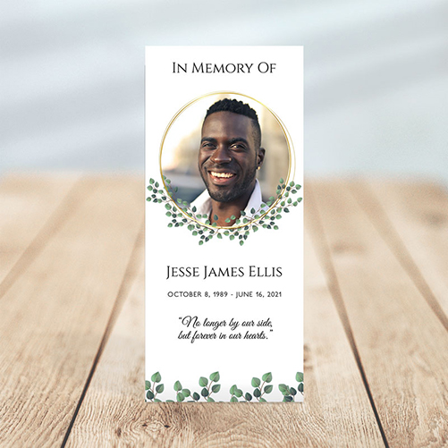 Golden Frame Simple One Page Funeral Program Template
