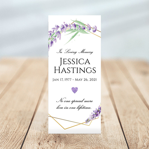 Lavender Frame Simple One Page Funeral Program Template
