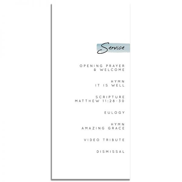 Minimalist Blue Simple One Page Funeral Program – Back