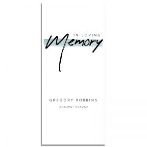 Minimalist Blue Simple One Page Funeral Program – Front