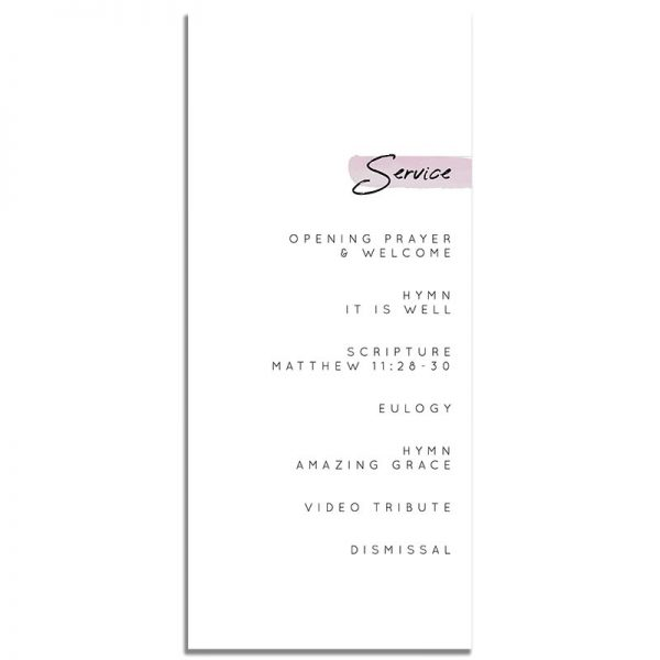 Minimalist Pink Simple One Page Funeral Program – Back