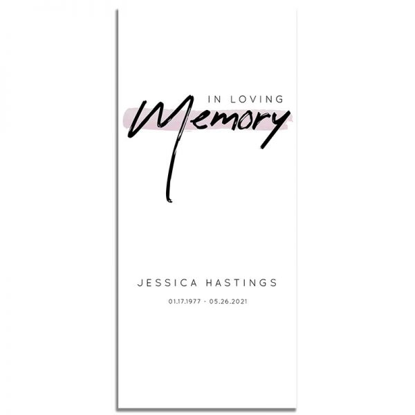 Minimalist Pink Simple One Page Funeral Program – Front
