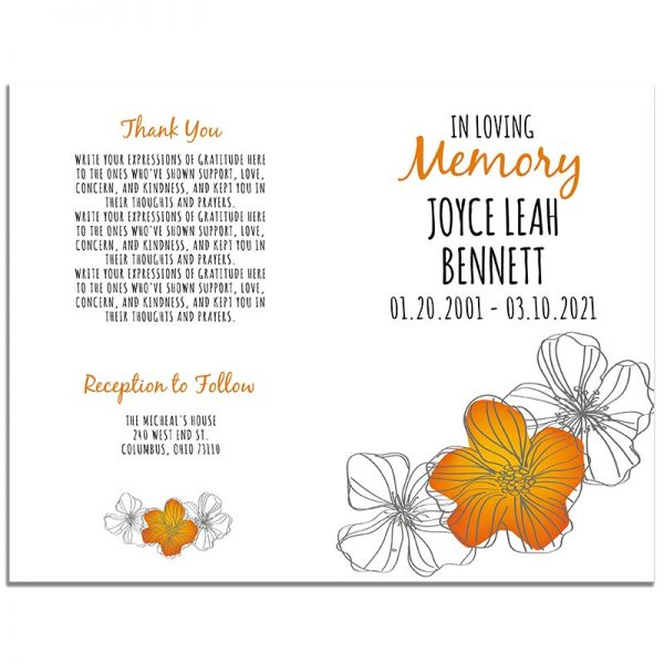 Orange Floral Funeral Program 8 Page Template – Front and Back