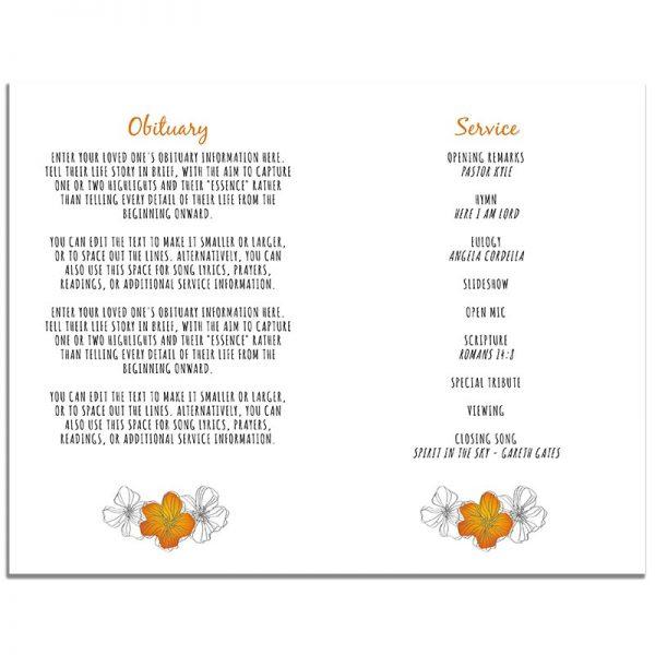 Orange Floral Funeral Program 4 Page Template – Inside