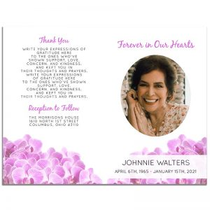 Orchid Funeral Program 4 Page Template – Front and Back
