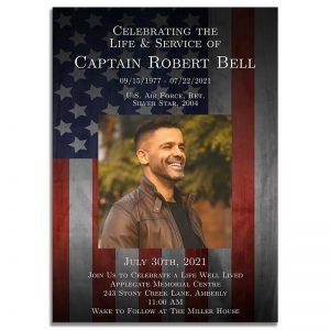 Patriotic Military Veteran Funeral Invitation