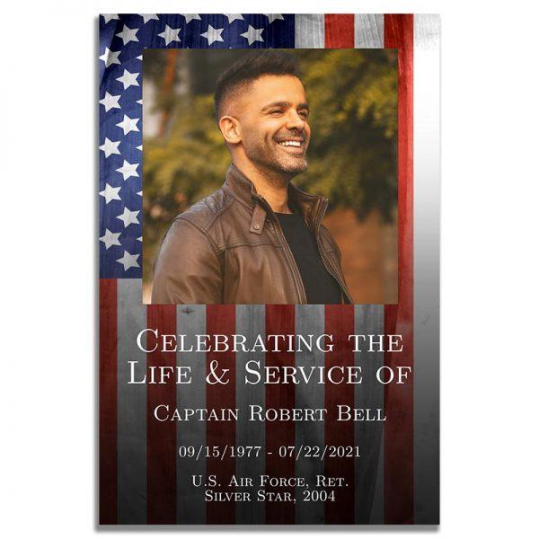 Patriotic Military Veteran Funeral Prayer Card – Front