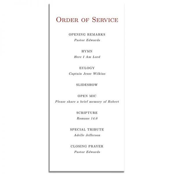 Patriotic Military Veteran Simple One Page Funeral Program – Back