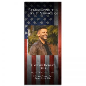 Patriotic Military Veteran Simple One Page Funeral Program – Front