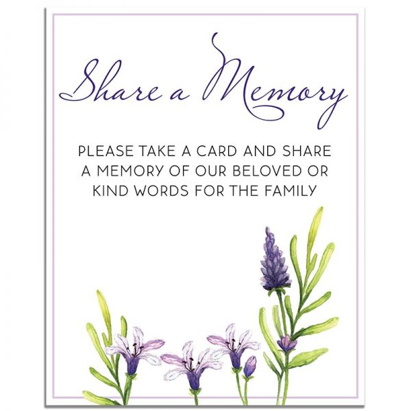 Peaceful Violet – Share a Memory Instructions Template