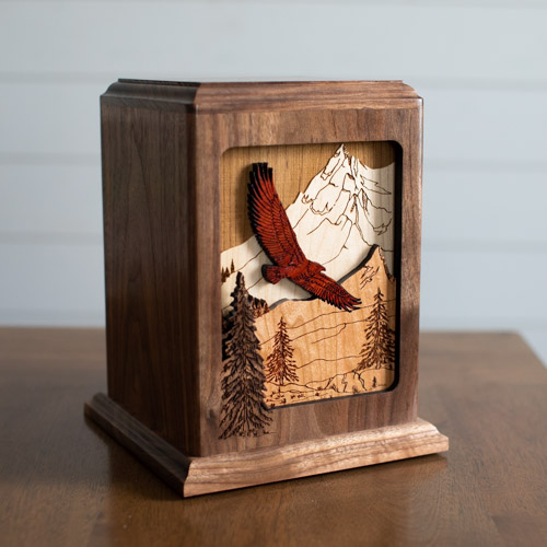 Wood Cremation Urn at Home